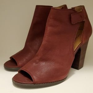 Lucky Brand Red Leather Booties (size 9.5)